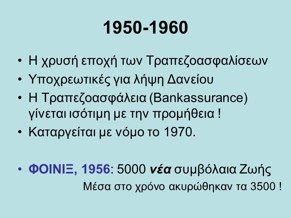 1950-1960 •Η χρυσή εποχή των Τραπεζοασφαλίσεων •Υποχρεωτικές για λήψη Δανείου •Η Τραπεζοασφάλεια (Bankassurance) γίνεται ισότιμη με την προμήθεια .
