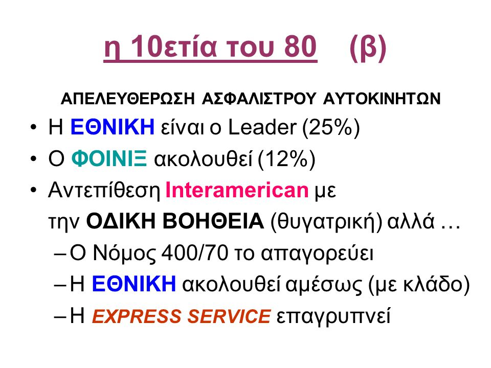 η 10ετία του 80(β) ΑΠΕΛΕΥΘΕΡΩΣΗ ΑΣΦΑΛΙΣΤΡΟΥ ΑΥΤΟΚΙΝΗΤΩΝ •Η ΕΘΝΙΚΗ είναι ο Leader (25%) •Ο ΦΟΙΝΙΞ ακολουθεί (12%) •Αντεπίθεση Interamerican με την ΟΔΙΚΗ ΒΟΗΘΕΙΑ (θυγατρική) αλλά … –Ο Νόμος 400/70 το απαγορεύει –Η ΕΘΝΙΚΗ ακολουθεί αμέσως (με κλάδο) –H EXPRESS SERVICE επαγρυπνεί