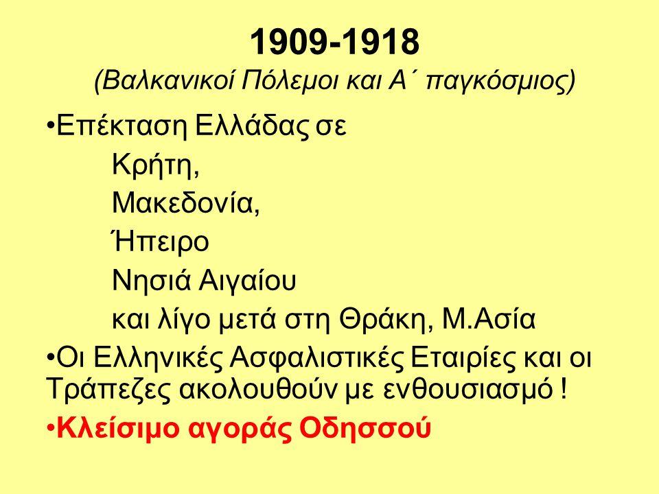 1909-1918 (Βαλκανικοί Πόλεμοι και Α΄ παγκόσμιος) •Επέκταση Ελλάδας σε Κρήτη, Μακεδονία, Ήπειρο Νησιά Αιγαίου και λίγο μετά στη Θράκη, Μ.Ασία •Οι Ελληνικές Ασφαλιστικές Εταιρίες και οι Τράπεζες ακολουθούν με ενθουσιασμό .