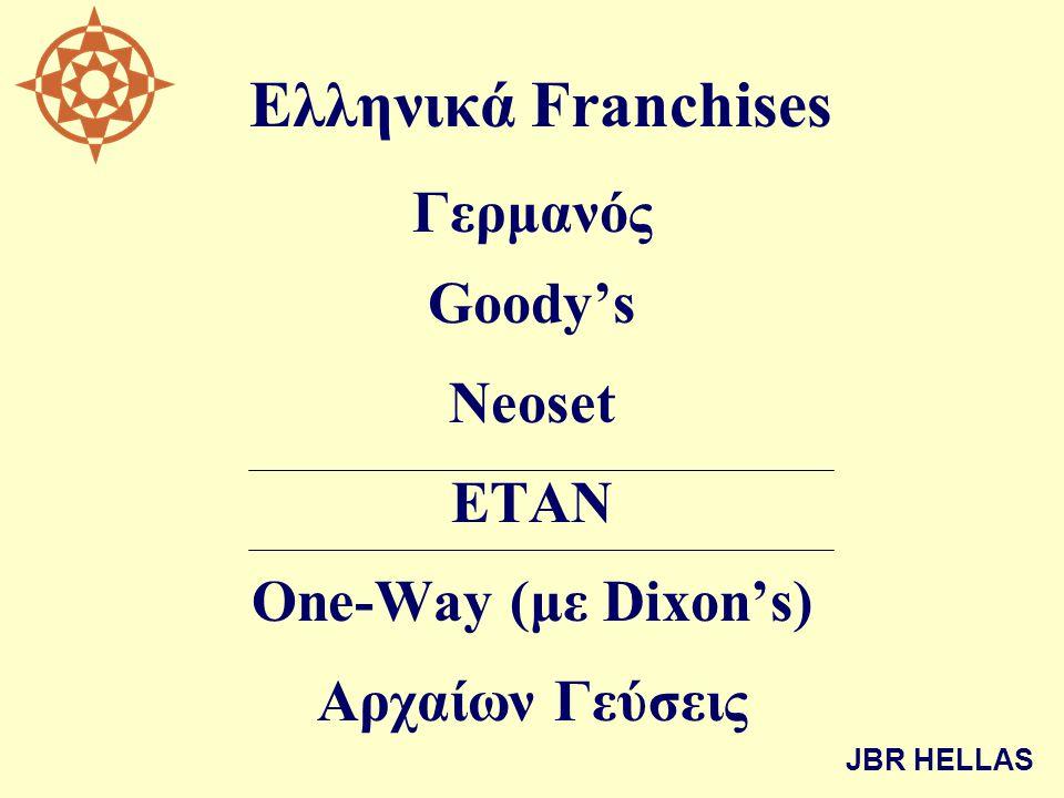 Ελληνικά Franchises Γερμανός Goody's Neoset ΕΤΑΝ One-Way (με Dixon's) Αρχαίων Γεύσεις JBR HELLAS
