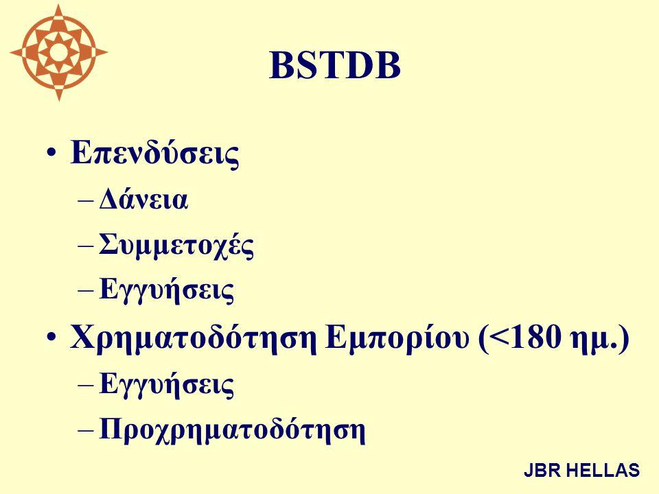 BSTDB •Επενδύσεις –Δάνεια –Συμμετοχές –Εγγυήσεις •Χρηματοδότηση Εμπορίου (<180 ημ.) –Εγγυήσεις –Προχρηματοδότηση JBR HELLAS