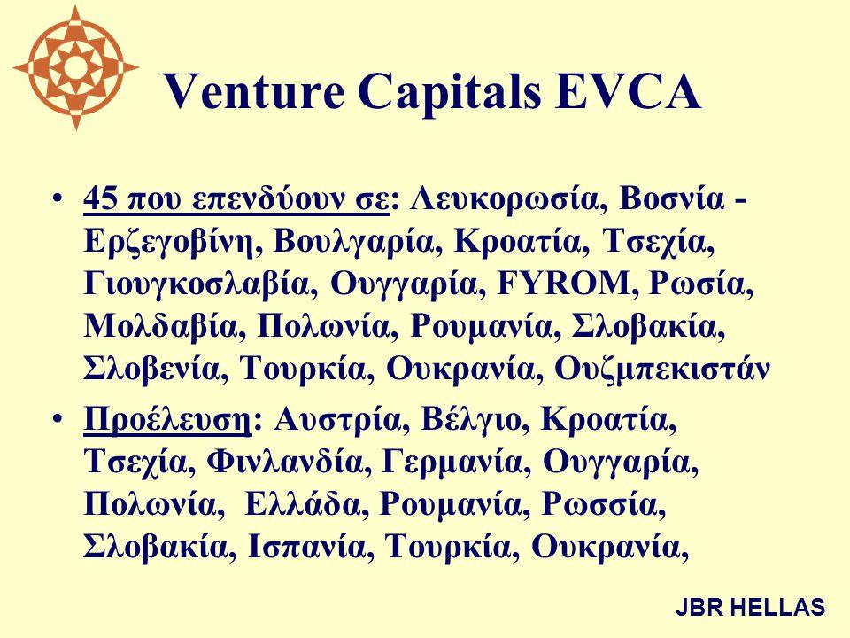 Venture Capitals EVCA •45 που επενδύουν σε: Λευκορωσία, Βοσνία - Ερζεγοβίνη, Βουλγαρία, Κροατία, Τσεχία, Γιουγκοσλαβία, Ουγγαρία, FYROM, Ρωσία, Μολδαβ