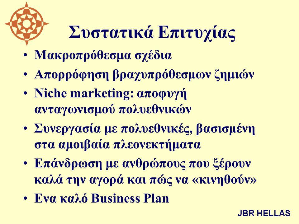 Συστατικά Επιτυχίας •Μακροπρόθεσμα σχέδια •Απορρόφηση βραχυπρόθεσμων ζημιών •Niche marketing: αποφυγή ανταγωνισμού πολυεθνικών •Συνεργασία με πολυεθνι
