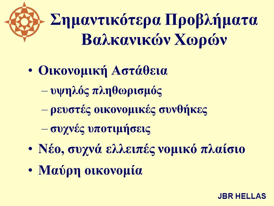Σημαντικότερα Προβλήματα Βαλκανικών Χωρών •Οικονομική Αστάθεια –υψηλός πληθωρισμός –ρευστές οικονομικές συνθήκες –συχνές υποτιμήσεις •Νέο, συχνά ελλειπές νομικό πλαίσιο •Μαύρη οικονομία JBR HELLAS