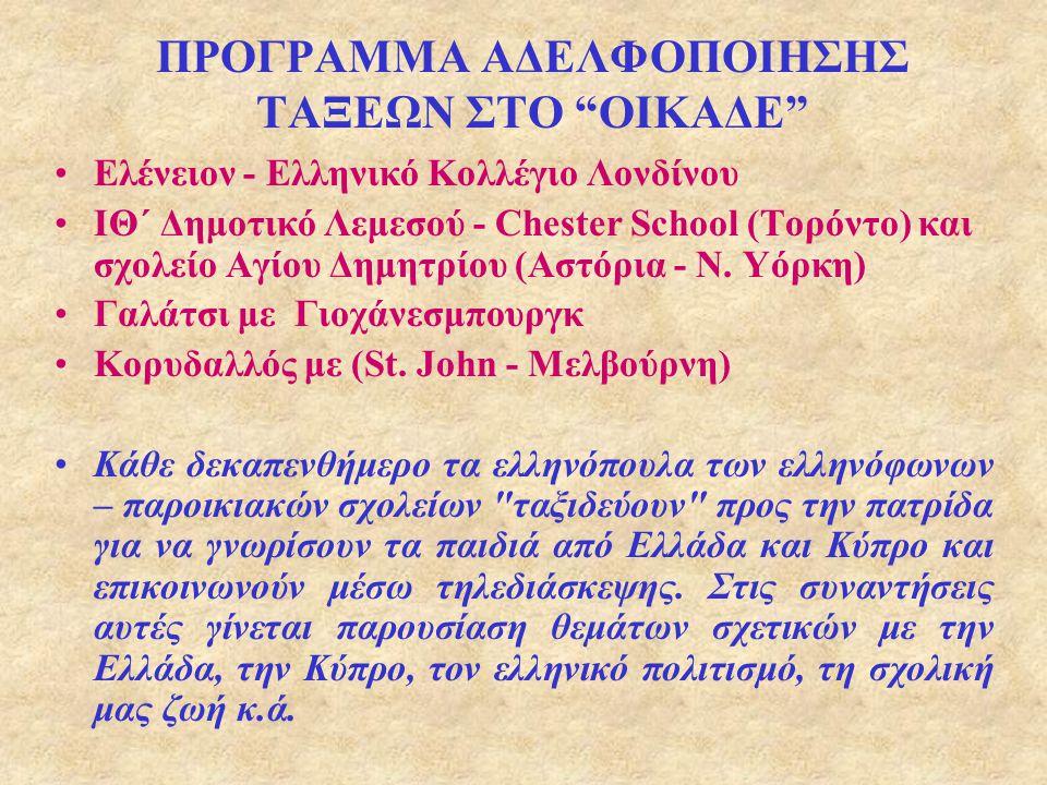"""ΠΡΟΓΡΑΜΜΑ ΑΔΕΛΦΟΠΟΙΗΣΗΣ ΤΑΞΕΩΝ ΣΤΟ """"ΟΙΚΑΔΕ"""" Καναδάς Τορόντο Η.Π.Α. Νέα Υόρκη Κύπρος Λεμεσός Μ. Βρετανία Λονδίνο Κύπρος Λευκωσία"""