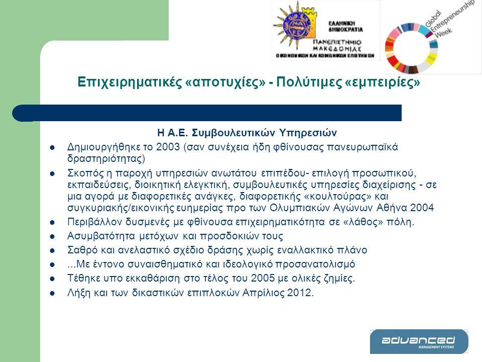 Η Α.Ε. Συμβουλευτικών Υπηρεσιών  Δημιουργήθηκε το 2003 (σαν συνέχεια ήδη φθίνουσας πανευρωπαϊκά δραστηριότητας)  Σκοπός η παροχή υπηρεσιών ανωτάτου