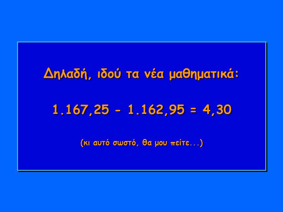 Δηλαδή, ιδού τα νέα μαθηματικά: 1.167,25 - 1.162,95 = 4,30 (κι αυτό σωστό, θα μου πείτε...)