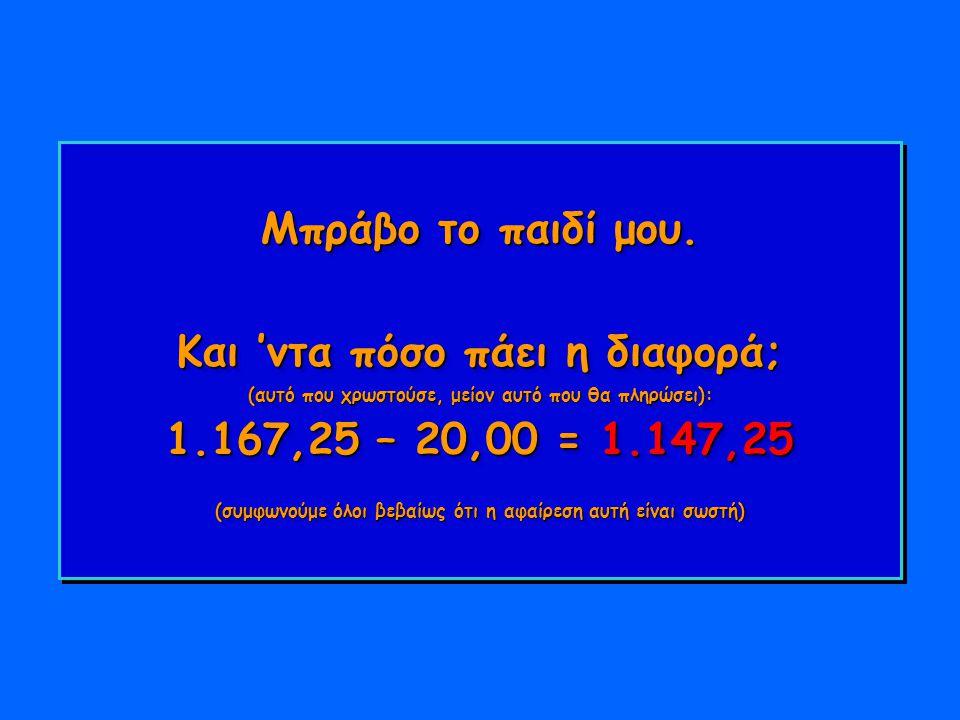 Μπράβο το παιδί μου. Και 'ντα πόσο πάει η διαφορά; (αυτό που χρωστούσε, μείον αυτό που θα πληρώσει): 1.167,25 – 20,00 = 1.147,25 (συμφωνούμε όλοι βεβα