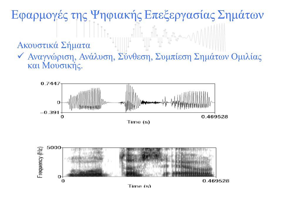 Αναγνώριση:  ομιλίας - μετατροπή ομιλίας σε κείμενο  Αναγνώριση ομιλητή  Αναγνώριση γλώσσας  Αναγνώριση κατάστασης ομιλητή Σύνθεση- μετατροπή κειμένου σε ομιλία Κωδικοποίηση-Συμπίεση - Επεξεργασία για οικονομική μετάδοση ή αποθήκευση του σήματος Εφαρμογές της Ψηφιακής Επεξεργασίας Σημάτων