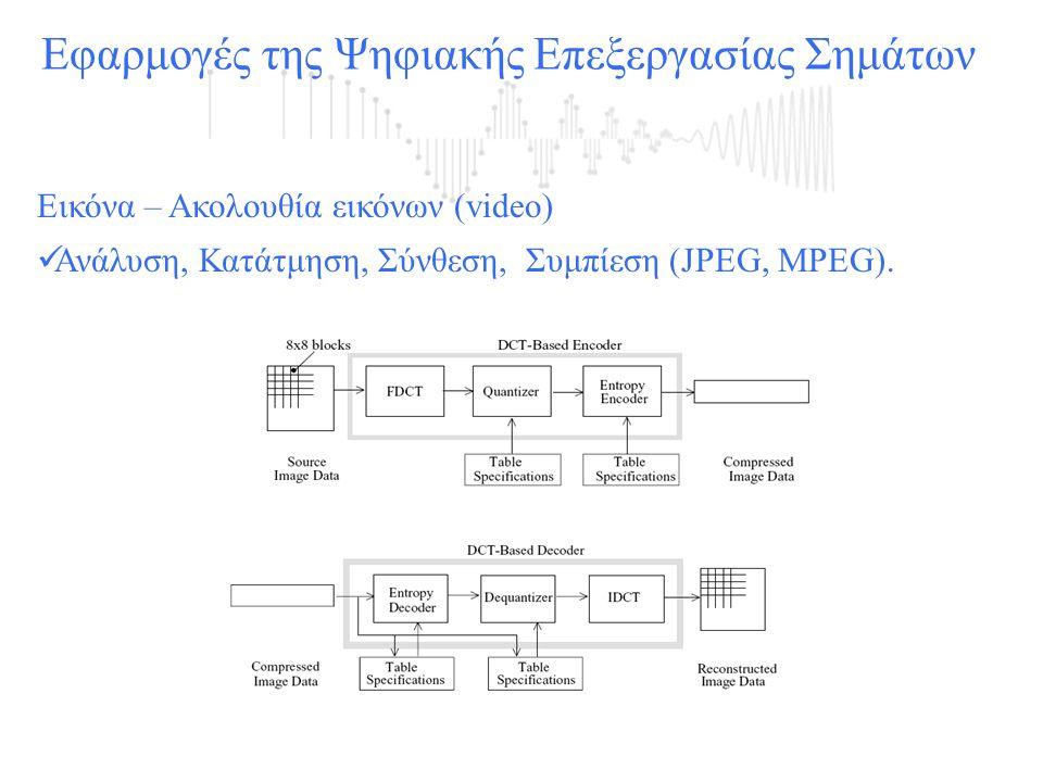 Εικόνα – Ακολουθία εικόνων (video)  Ανάλυση, Κατάτμηση, Σύνθεση, Συμπίεση (JPEG, MPEG).
