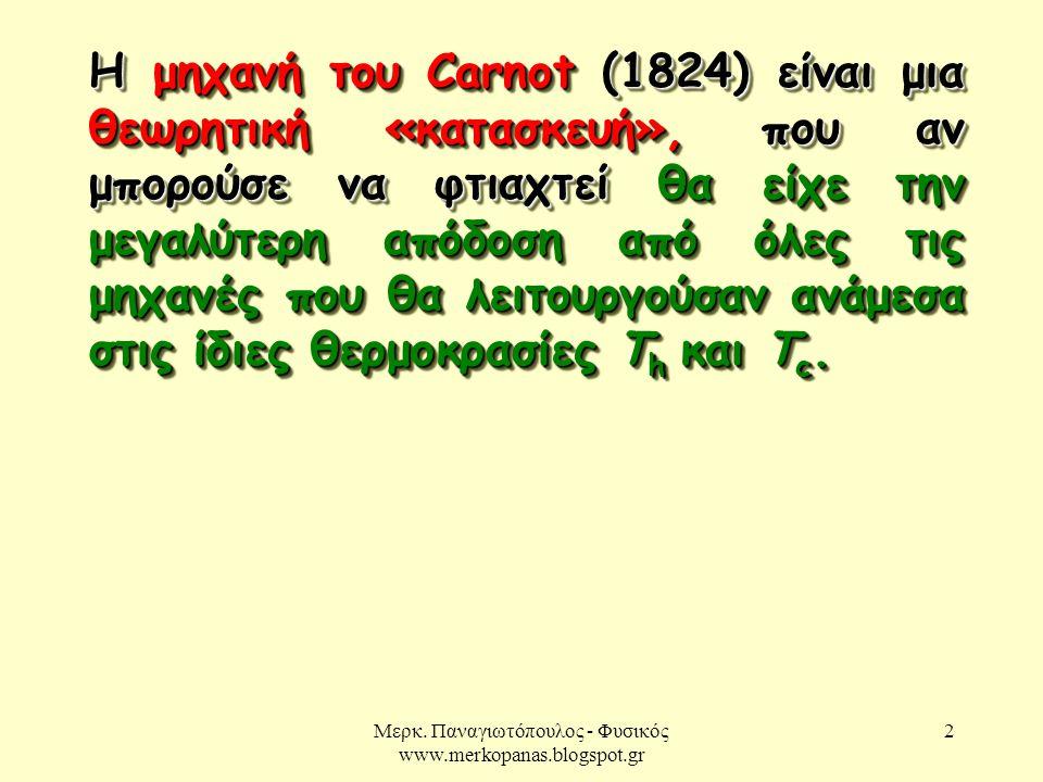 Μερκ. Παναγιωτόπουλος - Φυσικός www.merkopanas.blogspot.gr 2 Η μηχανή του Carnot (1824) είναι μια θεωρητική «κατασκευή», που αν μπορούσε να φτιαχτεί θ