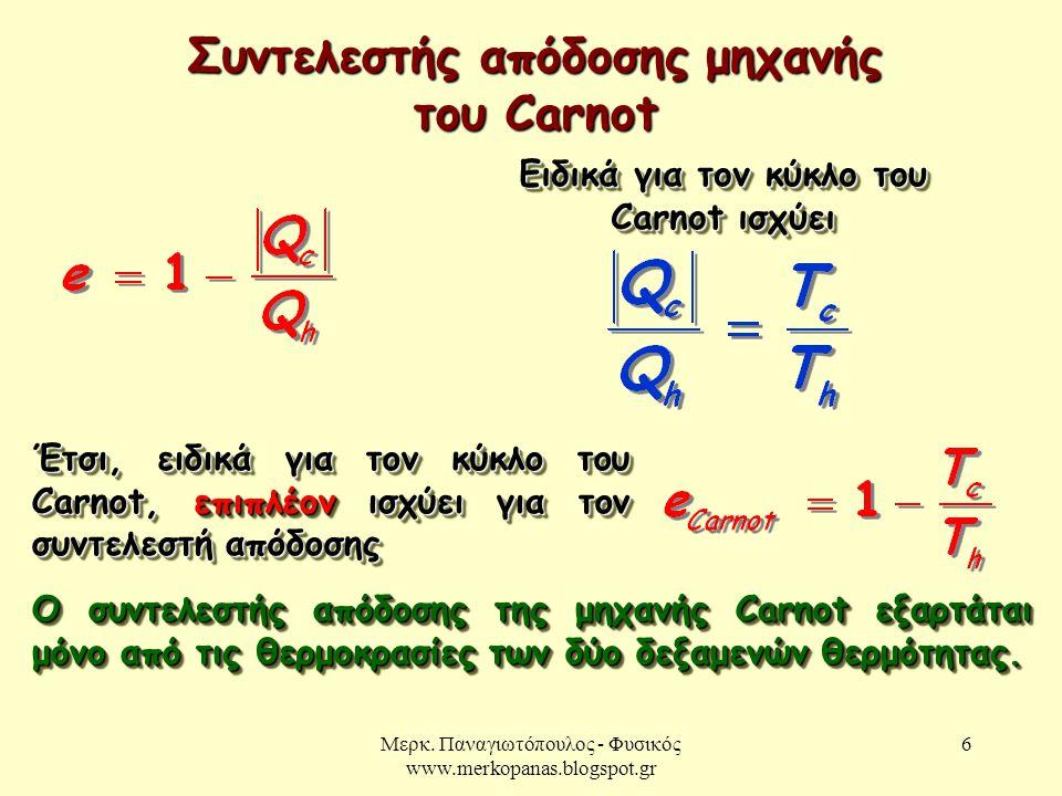 Μερκ. Παναγιωτόπουλος - Φυσικός www.merkopanas.blogspot.gr 6 Συντελεστής απόδοσης μηχανής του Carnot Ειδικά για τον κύκλο του Carnot ισχύει Έτσι, ειδι