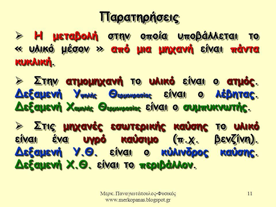 Μερκ. Παναγιωτόπουλος-Φυσικός www.merkopanas.blogspot.gr 11 ΠαρατηρήσειςΠαρατηρήσεις  Η μεταβολή στην οποία υποβάλλεται το « υλικό μέσον » από μια μη