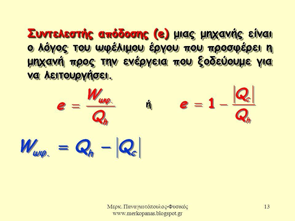 Μερκ. Παναγιωτόπουλος-Φυσικός www.merkopanas.blogspot.gr 13 Συντελεστής απόδοσης (e) μιας μηχανής είναι ο λόγος του ωφέλιμου έργου που προσφέρει η μηχ