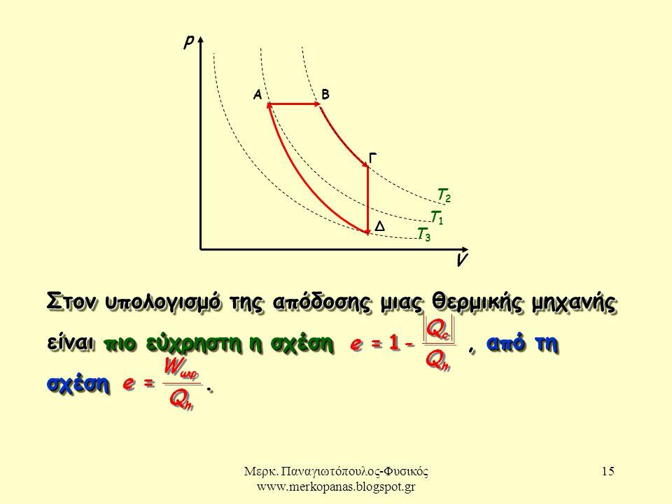 Μερκ. Παναγιωτόπουλος-Φυσικός www.merkopanas.blogspot.gr 15. Στον υπολογισμό της απόδοσης μιας θερμικής μηχανής είναι πιο εύχρηστη η σχέση, από τη σχέ