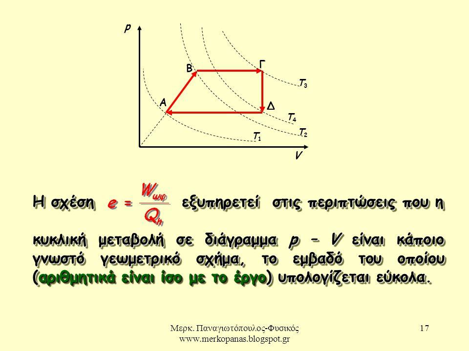Μερκ. Παναγιωτόπουλος-Φυσικός www.merkopanas.blogspot.gr 17 Η σχέση εξυπηρετεί στις περιπτώσεις που η κυκλική μεταβολή σε διάγραμμα p – V είναι κάποιο