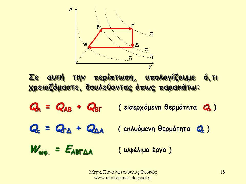 Μερκ. Παναγιωτόπουλος-Φυσικός www.merkopanas.blogspot.gr 18 Σε αυτή την περίπτωση, υπολογίζουμε ό,τι χρειαζόμαστε, δουλεύοντας όπως παρακάτω: Q h = Q