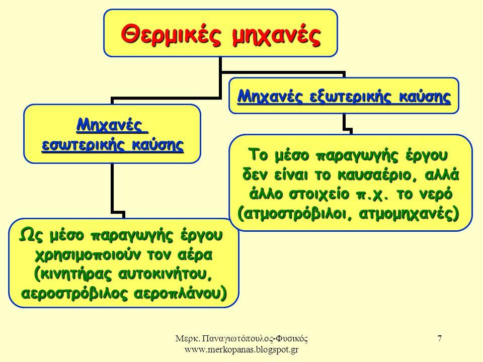 Μερκ. Παναγιωτόπουλος-Φυσικός www.merkopanas.blogspot.gr 7 Θερμικές μηχανές Μηχανές εσωτερικής καύσης εσωτερικής καύσης Ως μέσο παραγωγής έργου χρησιμ