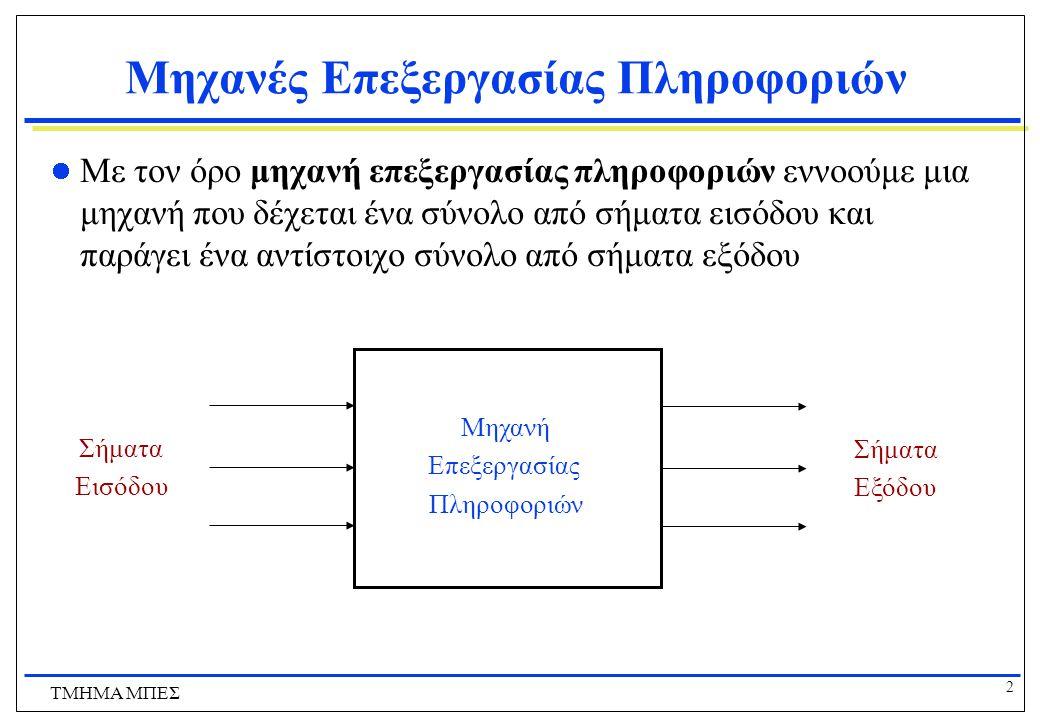 3 ΤΜΗΜΑ ΜΠΕΣ Μηχανές Επεξεργασίας Πληροφοριών  Παραδείγματα μηχανών επεξεργασίας πληροφοριών  Λάμπα γραφείου  σήματα εισόδου: ΠΑΝΩ/ΚΑΤΩ  σήματα εισόδου: ΦΩΣ/ΣΚΟΤΑΔΙ  Αθροιστής  σήματα εισόδου: δύο δεκαδικοί αριθμοί  σήματα εισόδου: το άθροισμα τους  Αυτοκίνητο  σήματα εισόδου: πίεση στο γκάζι, γωνία τιμονιού  σήματα εισόδου: ταχύτητα, κατεύθυνση  Αυτόματος πωλητής καφέ  σήματα εισόδου: νομίσματα, επιλογή καφέ  σήματα εισόδου: ποτήρι καφέ, ρέστα