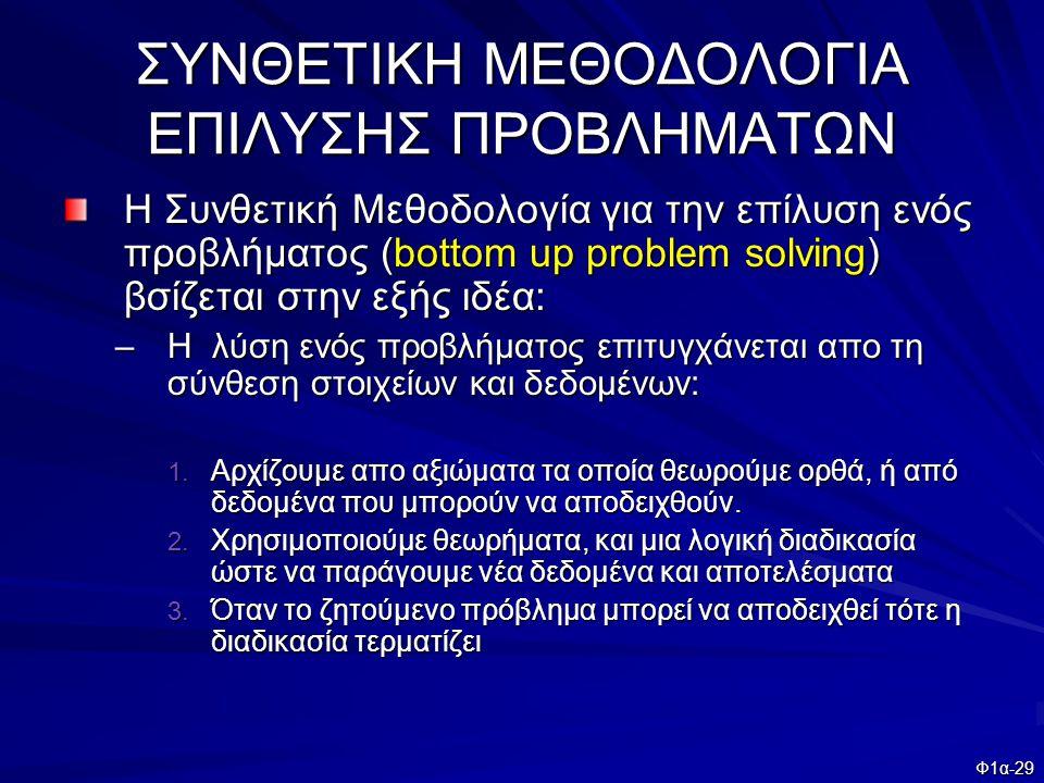 Φ1α-29 ΣΥΝΘΕΤΙΚΗ ΜΕΘΟΔΟΛΟΓΙΑ ΕΠΙΛΥΣΗΣ ΠΡΟΒΛΗΜΑΤΩΝ Η Συνθετική Μεθοδολογία για την επίλυση ενός προβλήματος (bottom up problem solving) βσίζεται στην ε