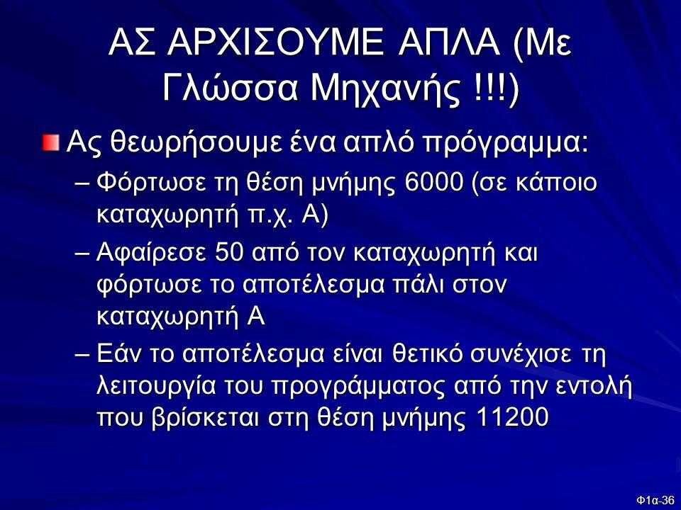 Φ1α-36 ΑΣ ΑΡΧΙΣΟΥΜΕ ΑΠΛΑ (Με Γλώσσα Μηχανής !!!) Ας θεωρήσουμε ένα απλό πρόγραμμα: –Φόρτωσε τη θέση μνήμης 6000 (σε κάποιο καταχωρητή π.χ. Α) –Αφαίρεσ