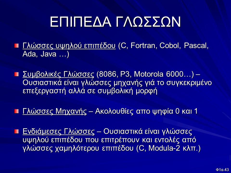 Φ1α-43 ΕΠΙΠΕΔΑ ΓΛΩΣΣΩΝ Γλώσσες υψηλού επιπέδου (C, Fortran, Cobol, Pascal, Ada, Java …) Συμβολικές Γλώσσες (8086, P3, Motorola 6000…) – Ουσιαστικά είν