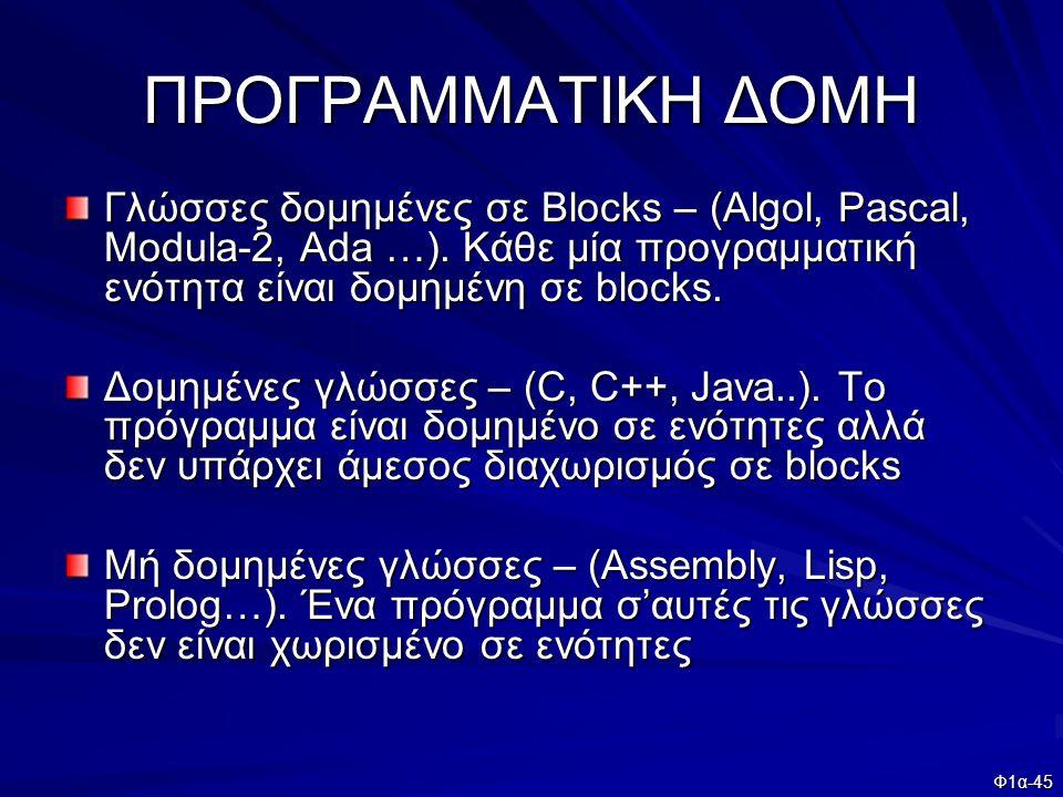 Φ1α-45 ΠΡΟΓΡΑΜΜΑΤΙΚΗ ΔΟΜΗ Γλώσσες δομημένες σε Blocks – (Algol, Pascal, Modula-2, Ada …). Κάθε μία προγραμματική ενότητα είναι δομημένη σε blocks. Δομ