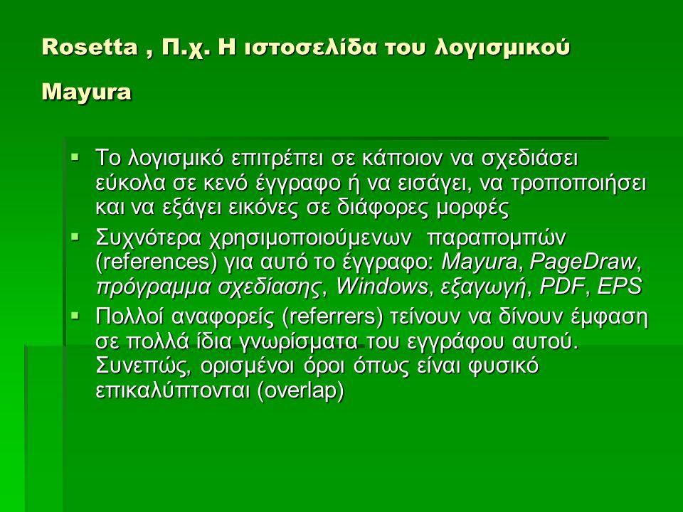 Rosetta, Π.χ. Η ιστοσελίδα του λογισμικού Mayura  Το λογισμικό επιτρέπει σε κάποιον να σχεδιάσει εύκολα σε κενό έγγραφο ή να εισάγει, να τροποποιήσει