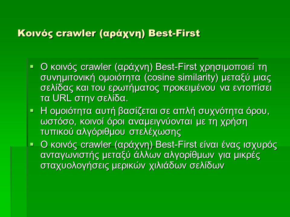 Κοινός crawler (αράχνη) Best-First  Ο κοινός crawler (αράχνη) Best-First χρησιμοποιεί τη συνημιτονική ομοιότητα (cosine similarity) μεταξύ μιας σελίδας και του ερωτήματος προκειμένου να εντοπίσει τα URL στην σελίδα.
