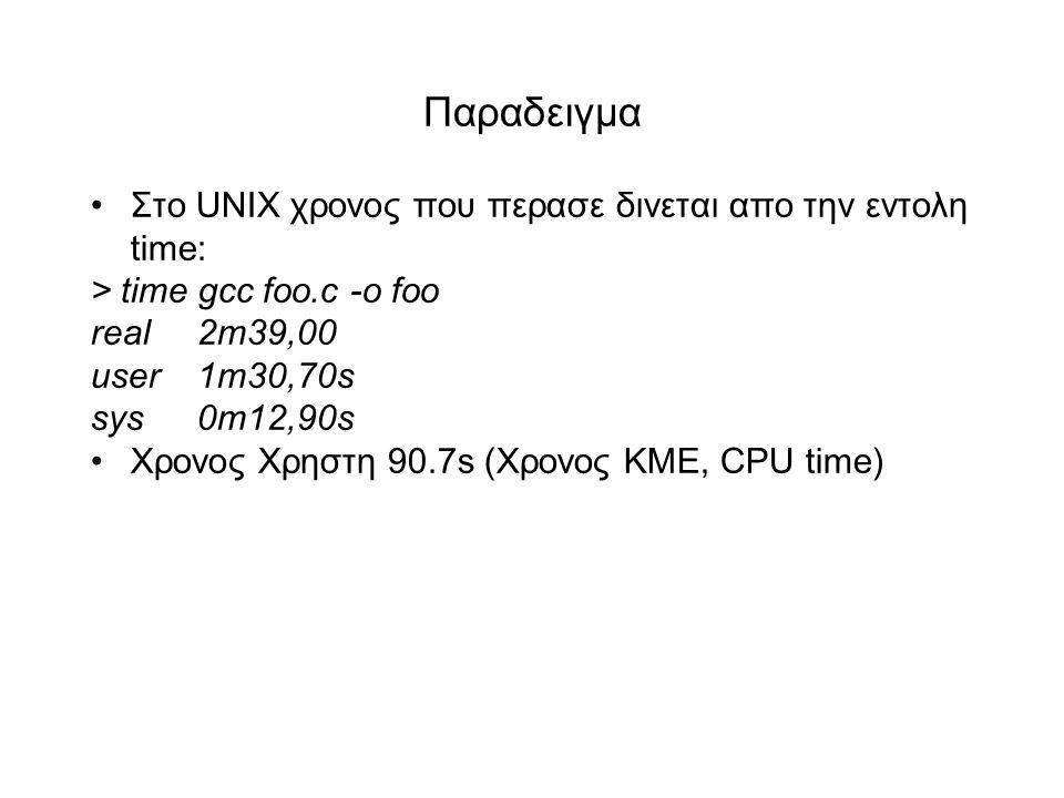 Παραδειγμα •Στο UΝΙΧ χρονος που περασε δινεται απο την εντολη time: > time gcc foo.c -o foo real2m39,00 user1m30,70s sys0m12,90s •Χρονος Χρηστη 90.7s (Xρονος ΚΜΕ, CPU time)