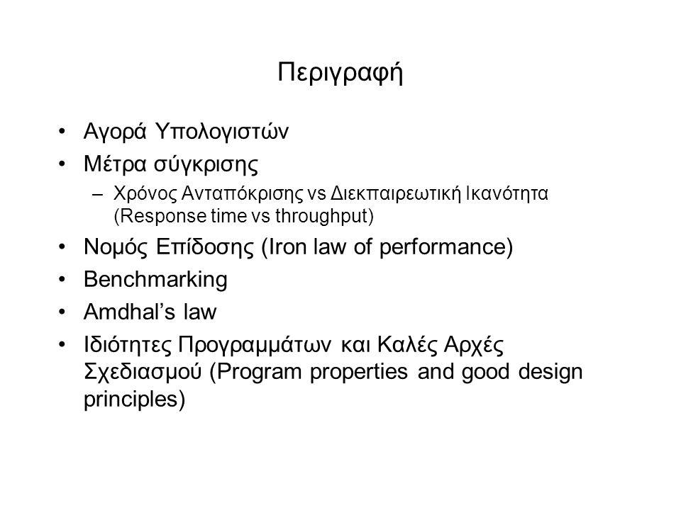 Περιγραφή •Αγορά Yπολογιστών •Mέτρα σύγκρισης –Χρόνος Ανταπόκρισης vs Διεκπαιρεωτική Ικανότητα (Response time vs throughput) •Νομός Επίδοσης (Iron law of performance) •Βenchmarking •Αmdhal's law •Ιδιότητες Προγραμμάτων και Καλές Αρχές Σχεδιασμού (Program properties and good design principles)