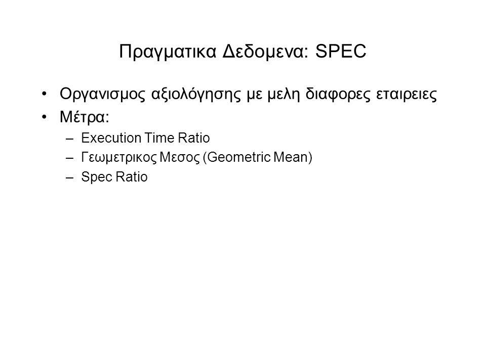 Πραγματικα Δεδομενα: SPEC •Οργανισμος αξιολόγησης με μελη διαφορες εταιρειες •Mέτρα: –Execution Time Ratio –Γεωμετρικος Μεσος (Geometric Mean) –Spec Ratio