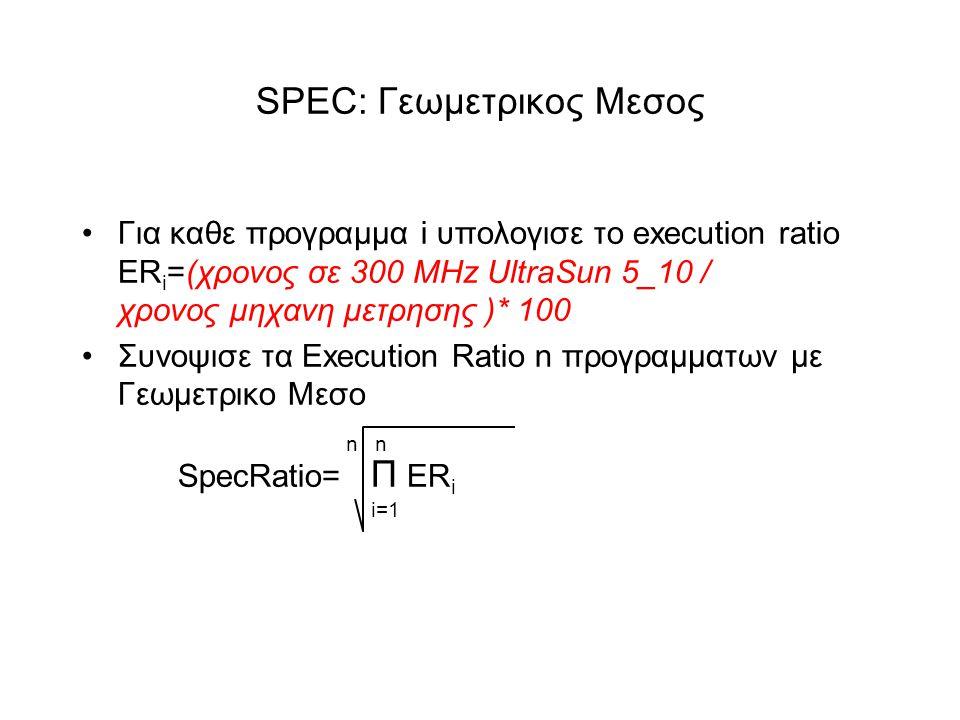 SPEC: Γεωμετρικος Μεσος •Για καθε προγραμμα i υπολογισε το execution ratio ER i =(χρονος σε 300 MHz UltraSun 5_10 / χρονος μηχανη μετρησης )* 100 •Συνοψισε τα Execution Ratio n προγραμματων με Γεωμετρικο Μεσο n n SpecRatio= Π ER i i=1