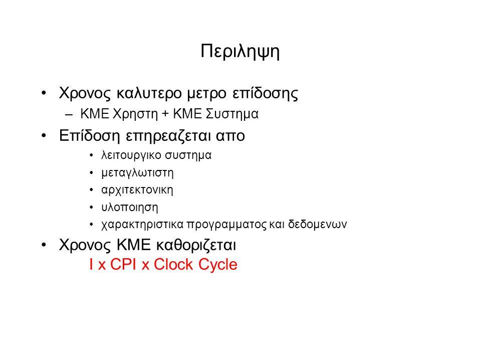 Περιληψη •Χρονος καλυτερο μετρο επίδοσης –ΚΜΕ Χρηστη + ΚΜΕ Συστημα •Επίδοση επηρεαζεται απο •λειτουργικο συστημα •μεταγλωτιστη •αρχιτεκτονικη •υλοποιηση •χαρακτηριστικα προγραμματος και δεδομενων •Χρονος ΚΜΕ καθοριζεται Ι x CPI x Clock Cycle