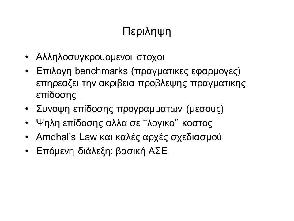 Περιληψη •Aλληλοσυγκρουομενοι στοχοι •Επιλογη benchmarks (πραγματικες εφαρμογες) επηρεαζει την ακριβεια προβλεψης πραγματικης επίδοσης •Συνοψη επίδοσης προγραμματων (μεσους) •Ψηλη επίδοσης αλλα σε ''λογικο'' κοστος •Αmdhal's Law και καλές αρχές σχεδιασμού •Eπόμενη διάλεξη: βασική ΑΣΕ