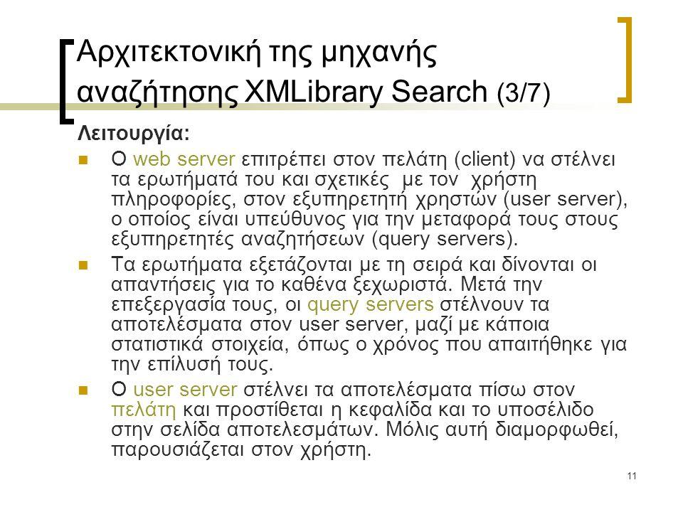 11 Αρχιτεκτονική της μηχανής αναζήτησης XMLibrary Search (3/7) Λειτουργία:  Ο web server επιτρέπει στον πελάτη (client) να στέλνει τα ερωτήματά του και σχετικές με τον χρήστη πληροφορίες, στον εξυπηρετητή χρηστών (user server), ο οποίος είναι υπεύθυνος για την μεταφορά τους στους εξυπηρετητές αναζητήσεων (query servers).