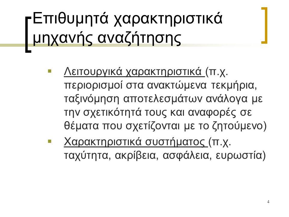5 Προδιαγραφές μηχανής αναζήτησης ψηφιακής βιβλιοθήκης (1/2)  Αποτελεσματικότητα.