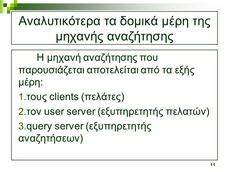 11 Αναλυτικότερα τα δομικά μέρη της μηχανής αναζήτησης Η μηχανή αναζήτησης που παρουσιάζεται αποτελείται από τα εξής μέρη: 1. τους clients (πελάτες) 2