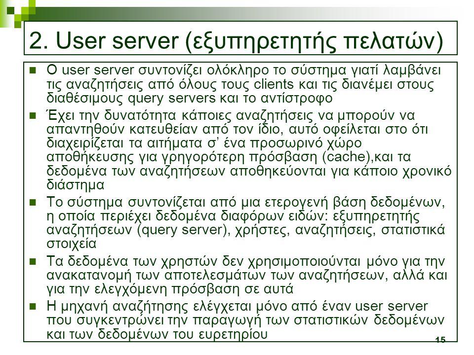 15 2. User server (εξυπηρετητής πελατών)  Ο user server συντονίζει ολόκληρο το σύστημα γιατί λαμβάνει τις αναζητήσεις από όλους τους clients και τις