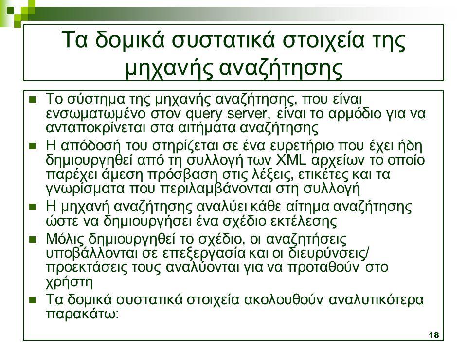 18 Τα δομικά συστατικά στοιχεία της μηχανής αναζήτησης  Το σύστημα της μηχανής αναζήτησης, που είναι ενσωματωμένο στον query server, είναι το αρμόδιο