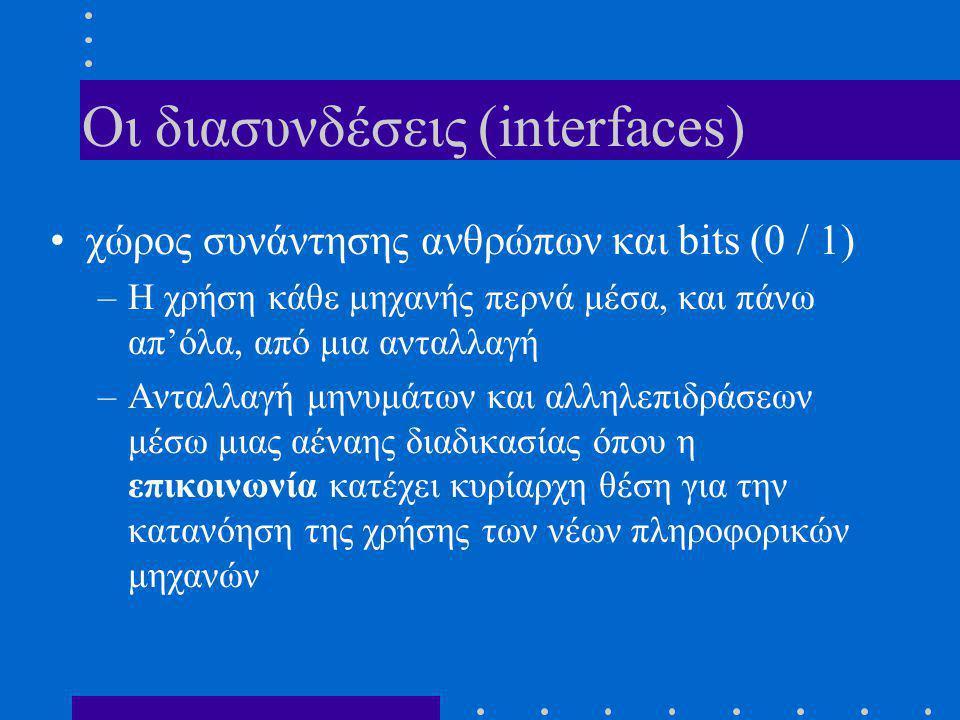 Oι διασυνδέσεις (interfaces) •χώρος συνάντησης ανθρώπων και bits (0 / 1) –Η χρήση κάθε μηχανής περνά μέσα, και πάνω απ'όλα, από μια ανταλλαγή –Aνταλλαγή μηνυμάτων και αλληλεπιδράσεων μέσω μιας αέναης διαδικασίας όπου η επικοινωνία κατέχει κυρίαρχη θέση για την κατανόηση της χρήσης των νέων πληροφορικών μηχανών