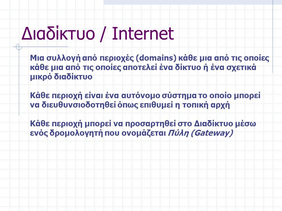 14 Διευθυνσιοδότηση στο Internet Σε κάθε μηχανή αντιστοιχίζεται μια μοναδική διεύθυνση που ονομάζεται IP διεύθυνση.