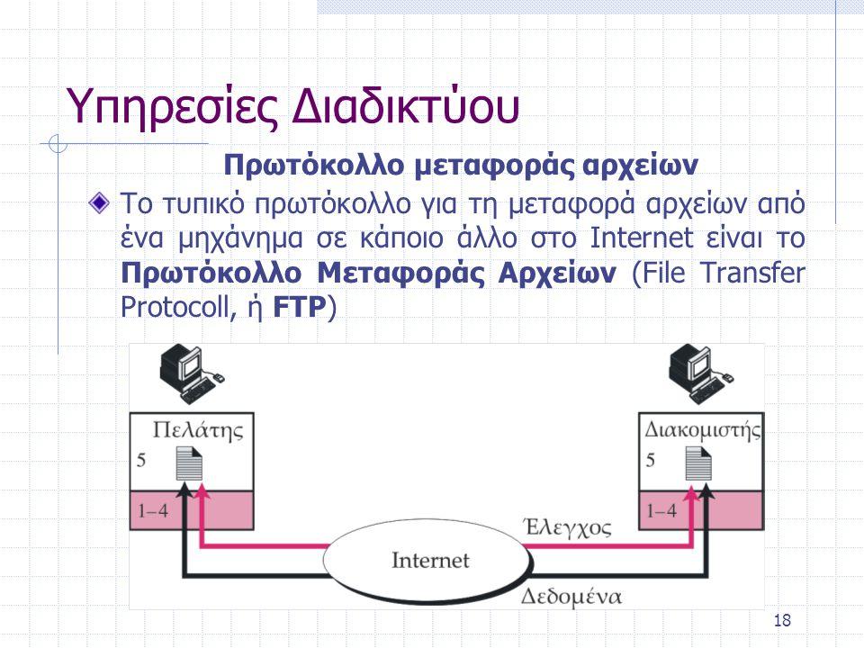 19 Το TELNET (TErminal NETwork) είναι ένα πρόγραμμα πελάτη-διακομιστή γενικής χρήσης που επιτρέπει απομακρυσμένη σύνδεση στο Internet Υπηρεσίες Διαδικτύου Προσπέλαση σε μηχανές από μεγάλη απόσταση