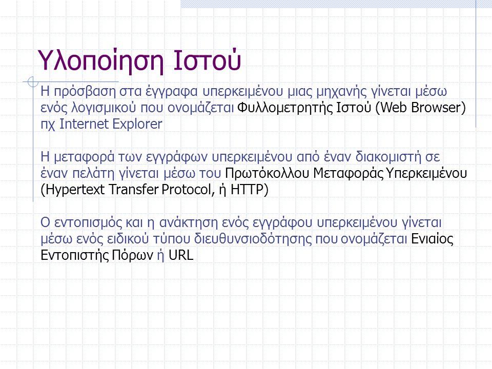 Υλοποίηση Ιστού Ένα τυπικό URL: http://ssenterprise.aw.com/authors/Shakespeare/Julius_Ceaser.html To πρωτόκολλο που απαιτείται για την προσπέλαση του εγγράφου.