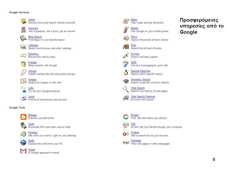 6 Προσφερόμενες υπηρεσίες από τo Google