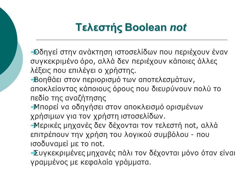 Τελεστής Boolean not  Οδηγεί στην ανάκτηση ιστοσελίδων που περιέχουν έναν συγκεκριμένο όρο, αλλά δεν περιέχουν κάποιες άλλες λέξεις που επιλέγει ο χρ