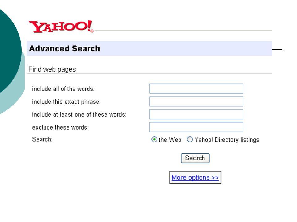 Προχωρημένη αναζήτηση στο Yahoo!
