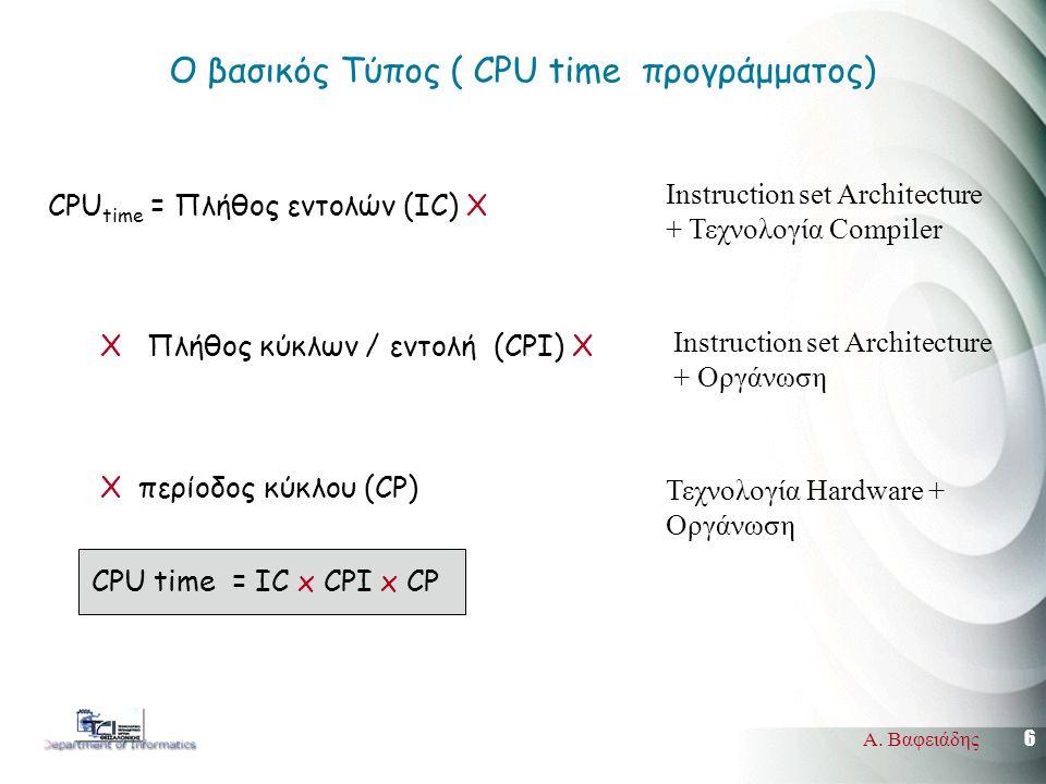 6 Α. Βαφειάδης Ο βασικός Τύπος ( CPU time πρoγράμματος) CPU time = Πλήθος εντολών (IC) X X Πλήθος κύκλων / εντολή (CPI) Χ X περίοδος κύκλου (CP) CPU t