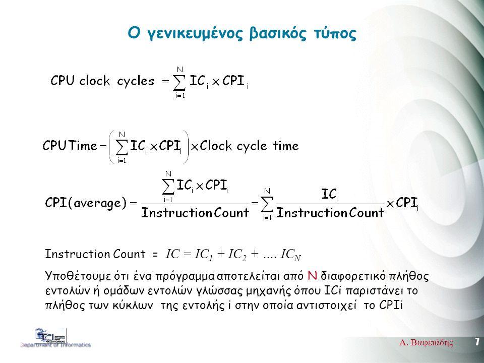 7 Α. Βαφειάδης Ο γενικευμένος βασικός τύπος Instruction Count = IC = IC 1 + IC 2 + ….