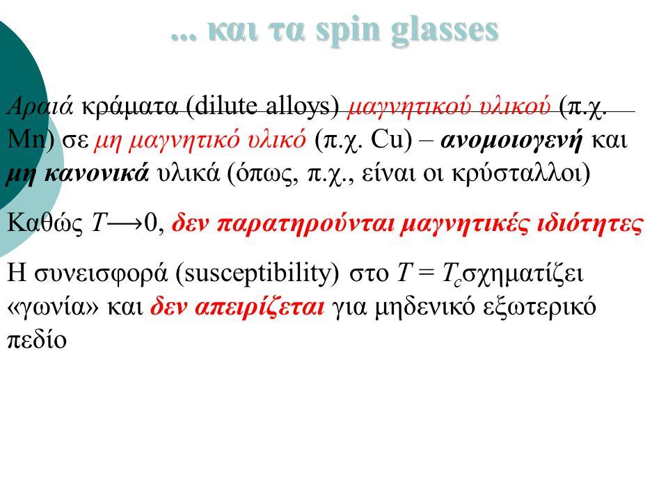 ... και τα spin glasses Αραιά κράματα (dilute alloys) μαγνητικού υλικού (π.χ. Mn) σε μη μαγνητικό υλικό (π.χ. Cu) – ανομοιογενή και μη κανονικά υλικά